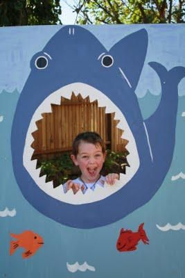 Pirate Themed Fall Festival. Shark mouth cut-out for pictures and water balloon/