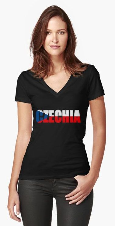 Czechia Flag Women's Fitted V-Neck T-Shirts
