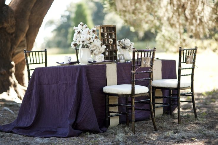Purple Rustic Chic Inspiration Shoot   Fall wedding purple  Tablecloths and  WeddingPurple Rustic Chic Inspiration Shoot   Fall wedding purple  . Purple Tablecloths For Wedding. Home Design Ideas