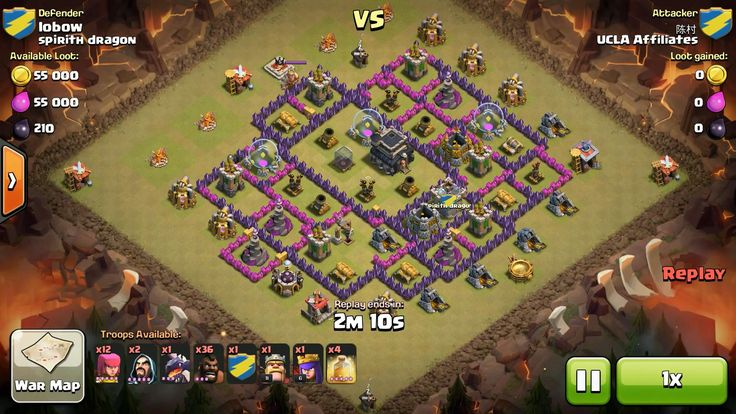 Attacker TH9: 12 Level 5 Archer, 1 Level 3 Dragon, 36 Level 3 Hog Rider, 5 Level 5 Hog Rider, 2 Level 5 Wizard, Level 6 Archer Queen, Level 11 Barbarian King, 4 Level 5 Healing Spell Defender TH9: Level 5 Barbarian King, Rank 1/20