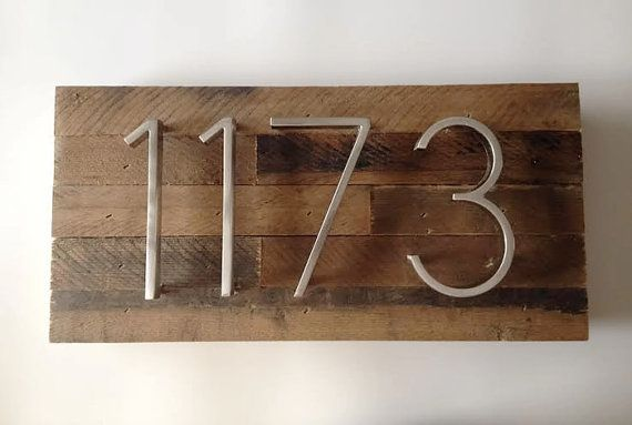 Custom Address Plaque made from Reclaimed от MadeWithBeerInHand