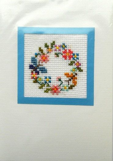 Flowers cross stitch card white blue spring by MelLuk on Etsy, $5.00