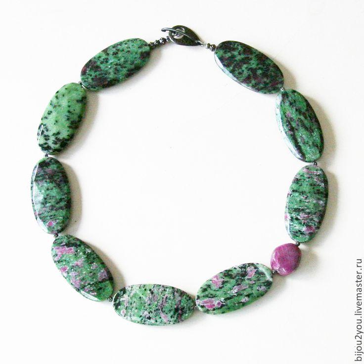 Купить Цветок кактуса - разноцветный, зеленый, зеленый с малиновым, рубин, рубин в цоизите, крупное украшение