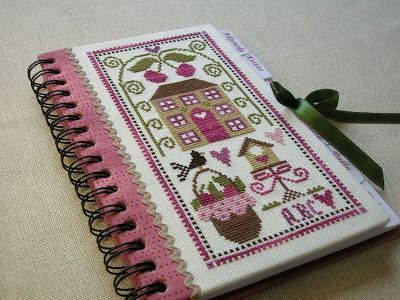 cross stitched recipe book - design by Tralala