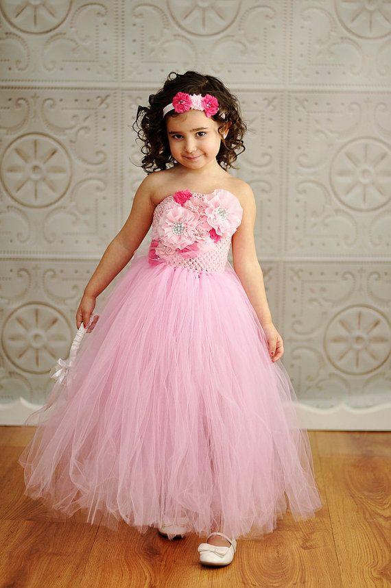 Pink flower girl wedding tutu dress with matching headband for Matching wedding and flower girl dresses