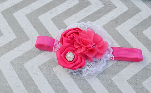 Hot pink and white lace headband sold by Chloe's Closet Bowtique. Shop more products from Chloe's Closet Bowtique on Storenvy, the home of independent small businesses all over the world.