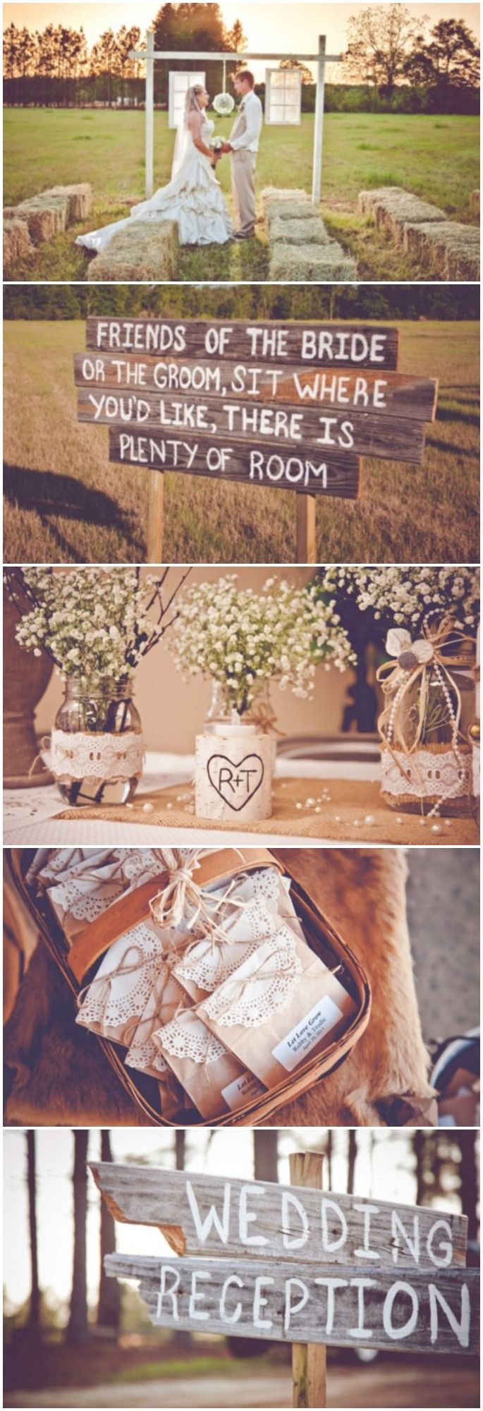 @Megan Ward Wiggins Not sure how I feel about hay bales, although maybe you could save on chair rental?? I also really like all these wooden signs, so neat!  Burlap inspired country wedding