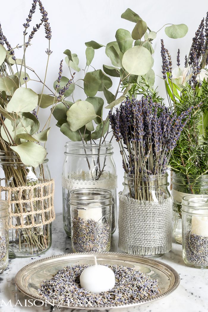 beautiful! Mason jars with dried lavender make easy and gorgeous centerpieces for home, parties, weddings, or baby showers | maisondepax.com