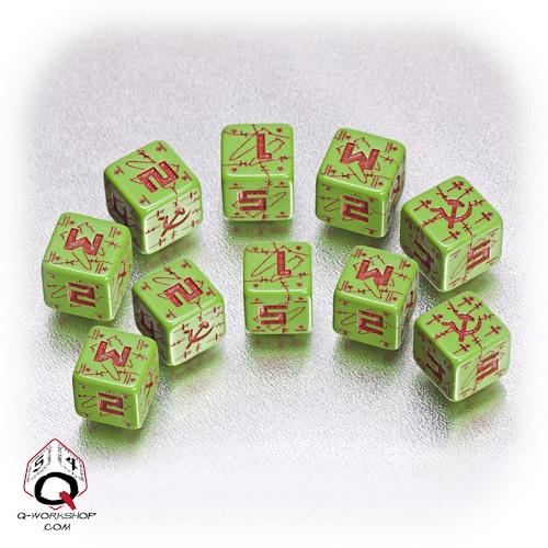Green-red Soviet battle dice set