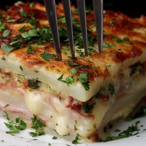 Layered Ham & Cheese Potato Bake substitute with chicken!