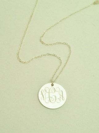 Monogrammed Necklace in Sterling Silver for Women or Bridesmaid Present Individualised presents for bridesmaids.