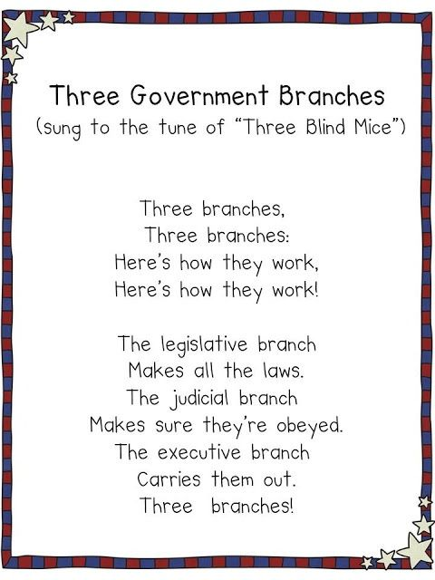 FREE From My Blog = Three Government Branches Song shown on smart board in my classroom for my kiddos to sing to. I was so surprised how this song really helped them retrieve this information regarding what each branch of government is reasponsible for.   http://www.3rdgradegrapevine.blogspot.com
