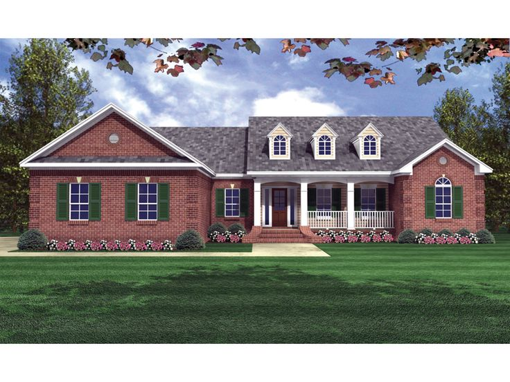 brick ranch home plans with country porch dillon place ranch home plan 077d 0056 - Red Brick House Plans