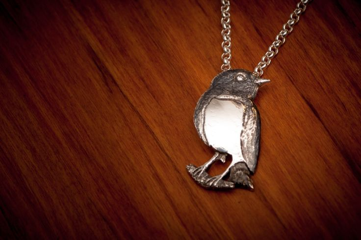 New Zealand Robin made for our lovely customer Robin. Sterling silver and a diamond eye. By The Rolling Mill, Wellington, New Zealand.