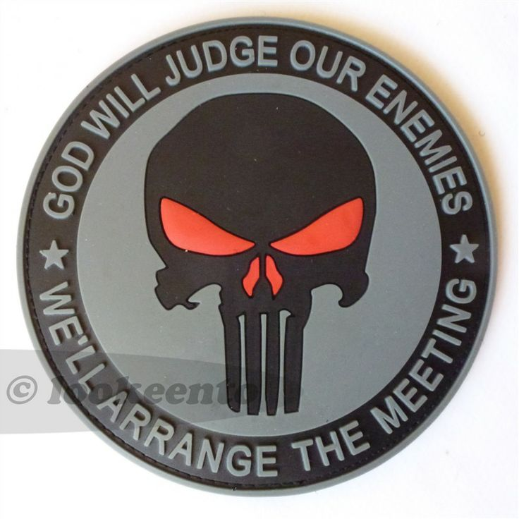 """Big US Navy Seals Team 6 DEVGRU punisher PVC rubber 3D velcro patch, showing the sentence """"God will judge our enemies, we will arrange the meeting"""". Free shipping worldwide. $9.95"""