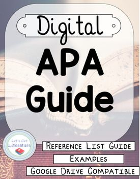 Use this Google Slides APA style file to help your students format their APA reference lists. Twenty-one separate slides allow students to type information related to their sources directly into text boxes in APA format. An example of each reference list item is included in the notes section of each slide as a guide.Your purchase provides you with the link to access a Google Slides file.