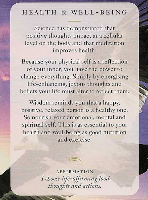 """Today's Wisdom Card & Affirmation Is """"HEALTH & WELL-BEING"""" - I choose life-affirming food, thoughts & actions. ♥ Abundant Love, Blessings & (((Soul-Hugs)))- Jacqueline ♥ www.JacquelineJGarner.com ♥ Youtube.com/JacquelineJGarner ♥ www.Facebook.com/JacquelineJGarner ♥   To purchase this card deck- I have a link for them along with several free online card readings on my website at http://www.jacquelinejgarner.com/angel-oracle-card-decks-free-online-card-readings.html ♥"""