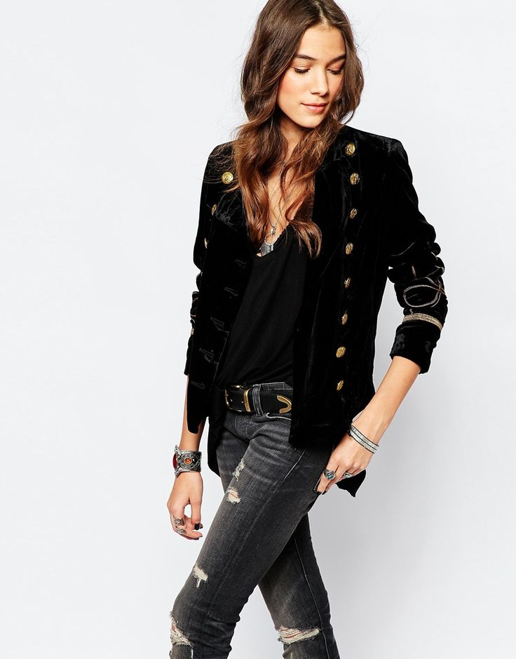 Image 1 of Denim & Supply By Ralph Lauren Velvet Military Jacket