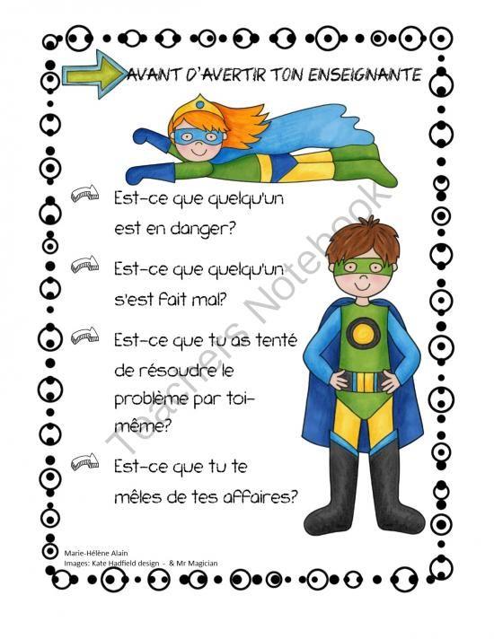 """Quand dois-je avertir mon enseignante? from Mahe129 from Mahe129 on TeachersNotebook.com (1 page) - Affiche aidant les élèves à se """"mêler"""" de leurs affaires"""
