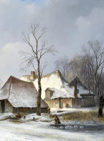 Andreas Schelfhout (Dutch, 1787-1870) Boerderij in de winter  (The two figures are painted by another hand.)