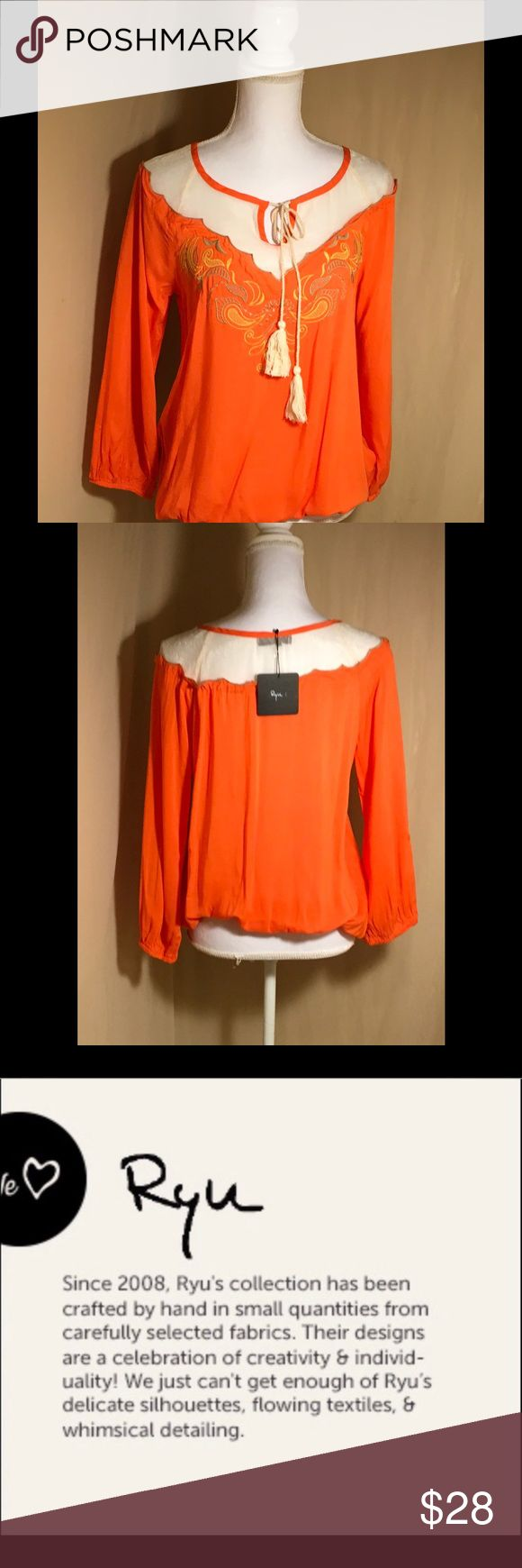 "Ryu Orange Long Sleeves Top Tassel Ties Ryu Stunning casual long sleeves great for morning or night orange with sheer cream and ties with tassel, elastic hem and wrists measure 20"" from armpit to armpit,25"" in length, new with tag. Ryu Tops Blouses"