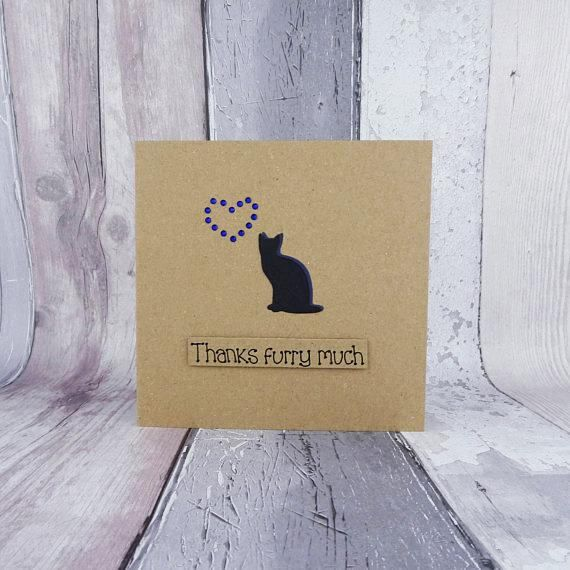 Handmade thank you card featuring a cat and gems in the shape of a heart. This card would be perfect to thank your Vet, cat sitter, or anyone who loves cats and deserves a special thank you, or even as a card from the cat.  The card has the silhouette of a cat sitting serenely with gems in the shape of a heart. The sentiment is added with 3D foam and reads: Happy Purr-thday!  FRONT OF THE CARD: You can choose the sentiment for your card from the drop-down menu. The messages available for…
