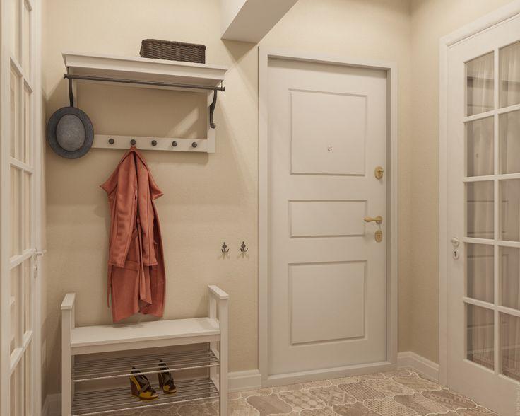 Прихожая в однокомнатной квартире в Подмосковье: светлые цвета, открытые вешалка и обувница.