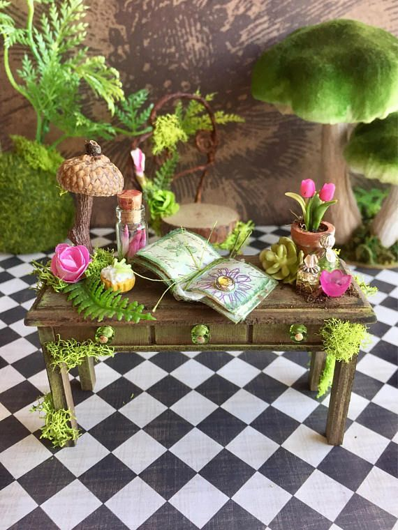 Fairy garden desk and chair dollhouse furniture fae desk and