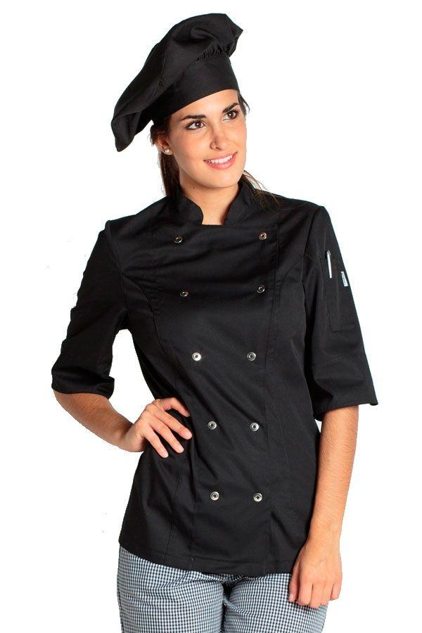 La chaqueta de cocina negra Dyneke con cierres y manga 3/4, tiene costadillos…