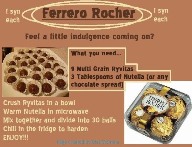 slimming world ferrero rocher - These can also be made with fynn crisp instead of Ryvitas. They are delicious they are my favourites and are great at Christmas or any time you want to indulge and they work out a lot less expensive too.