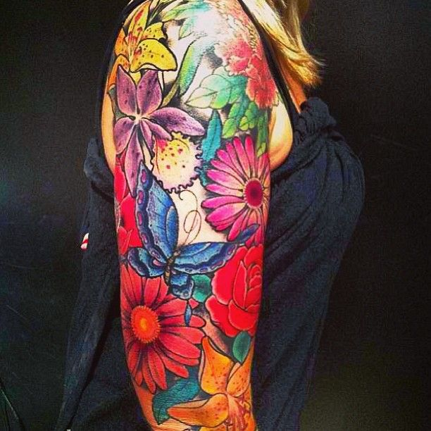 butterflies and flowers tattoos | Flowers And Butterfly Tattoo On Half Sleeve