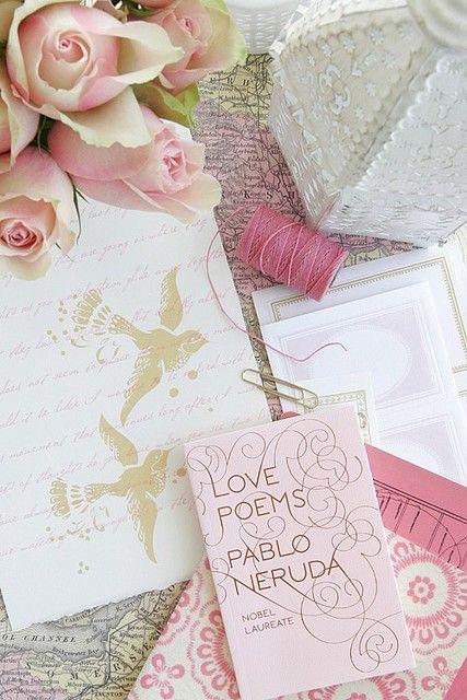Love letters, how romantique: Buckets Lists, Inspiration, Romances, Color, Ana Rosa, Pink Rose, Poem, Pablo Neruda, Love Letters