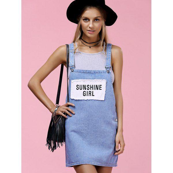 $16.91 Stylish Letter Print Patch Design Women's Suspender Denim Dress