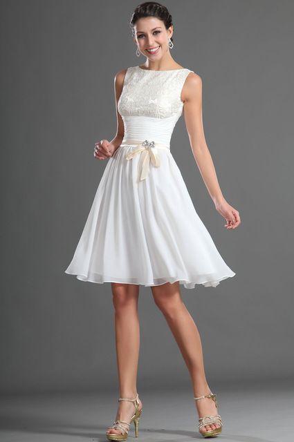 Na altura do Joelho Bridemaid Vestido Modest Branco Chiffon Rendas Dama De Honra Vestido Curto