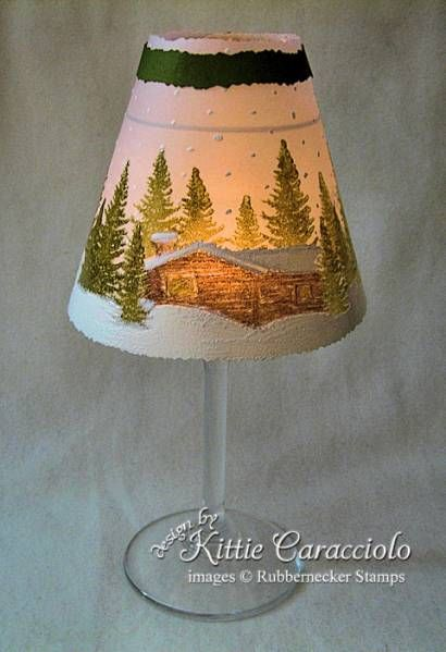 simple wine glass as candle holder. You could make beautiful Christmas gifts!