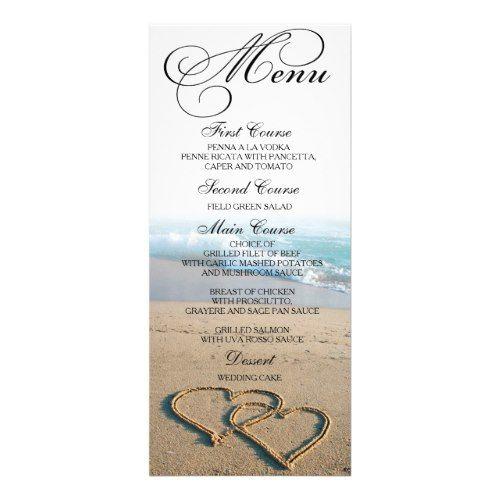 741 best formal wedding invitations images on pinterest formal formal wedding menus heart on the shore beach wedding dinner menu card stopboris Images