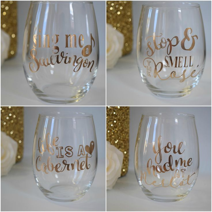 Wine Pun Stemless glasses http://etsy.me/2nKLmP3 #housewares #glass #winepuns #funny #stemless #gold #cabernet #sauvingnon #merlot