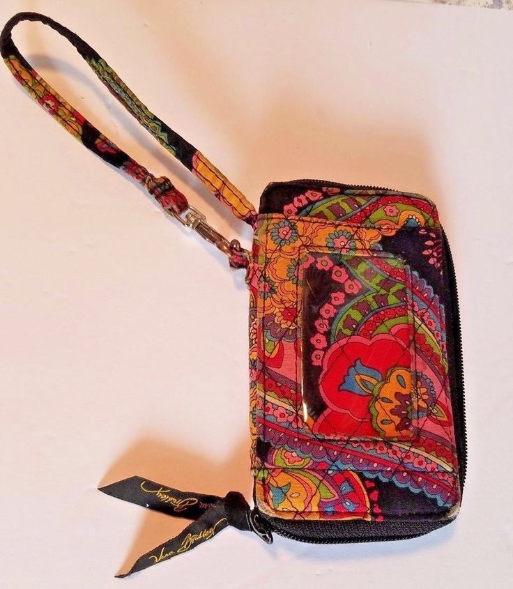 Vera Bradley Wristlet Wallet Symphony In Hue Black Flower Red Blue #VeraBradley #Wristlet