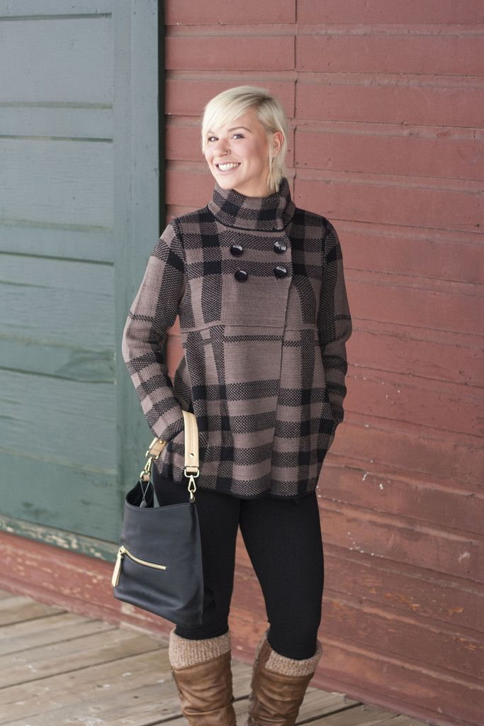 Plaid Fall Sweater/Coat   Miss Modern Boutique