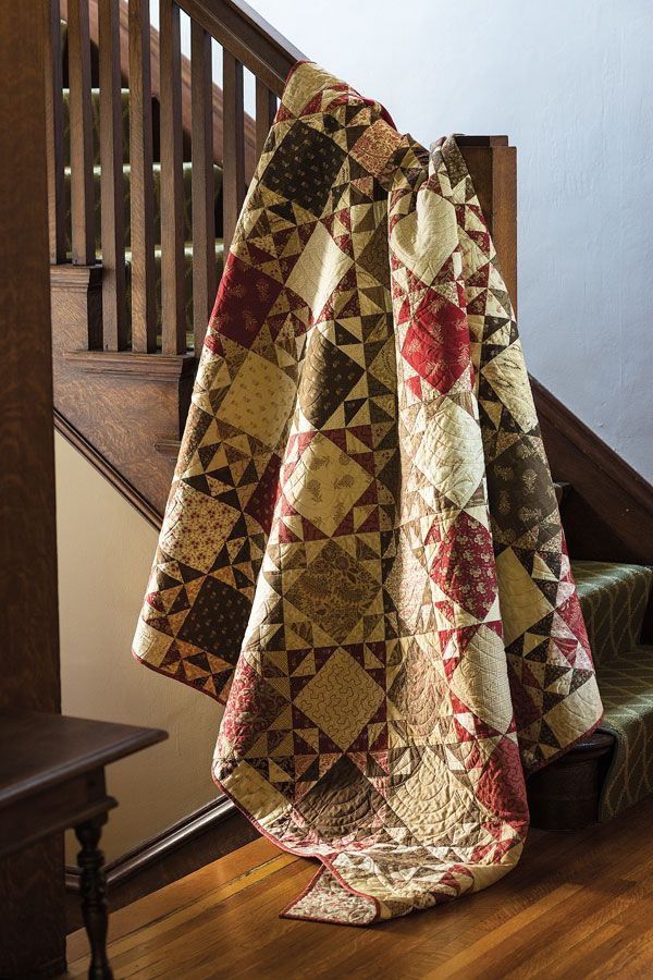 Circa 1852 - This quilt is all about value. This fat quarter friendly quilt makes use of darks and lights to give these traditional quilt blocks definition.