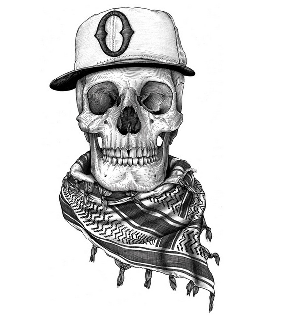 Vintage Hat Tattoos: Skull With Hat And Scarf Drawing