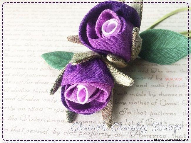 Розы из ткани. Подвеска для брелка своими руками