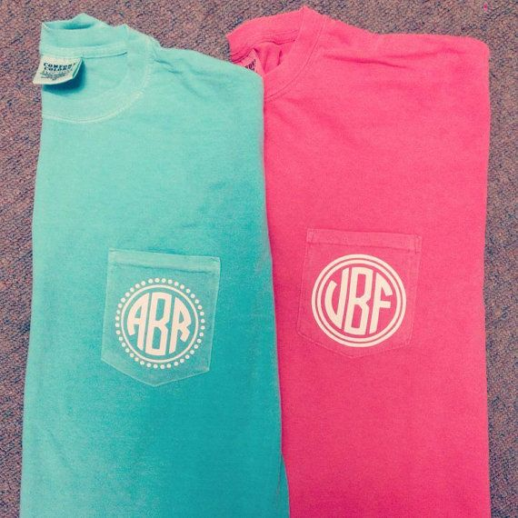 Monogram Comfort Colors Pocket tee heat by MonogramPlusColumbus