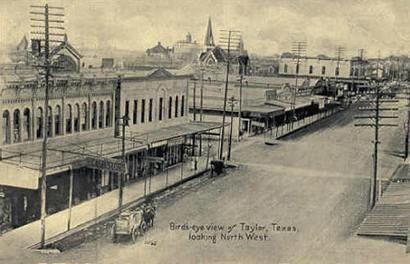 Taylor, Texas street scene birds-eye view, old photo