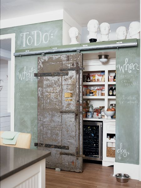 """Love, love, love the idea of walls you can write on directly.  Maybe because it's handy or maybe it's just my inner four year old that got yelled at for writing on the walls saying """"yes!!!!!"""" to the idea.  Either way, I love this idea. The door is from an old New Orleans bank."""