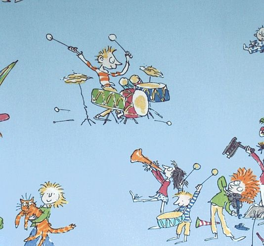 All Join In Fabric - Wonderful Quentin Blake designed fabric of children and flustered adults playing with instruments