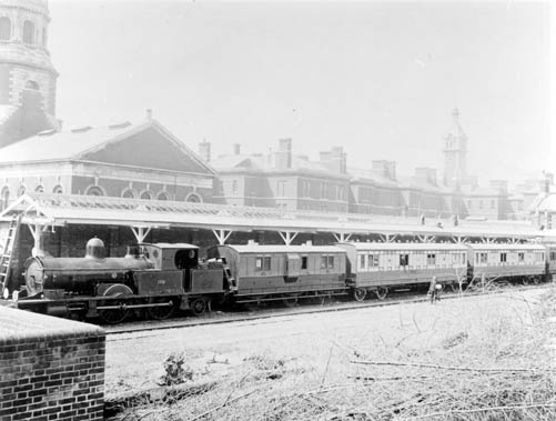 Netley: an ambulance train pulling in at Netley Hospital during the Boer War