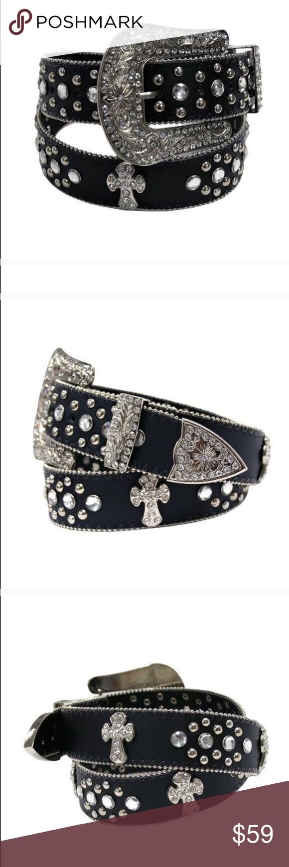 ➰ Black Western Bling Belt ➰ Please see pic 4 Denim, Boots, & Bling Accessories Belts