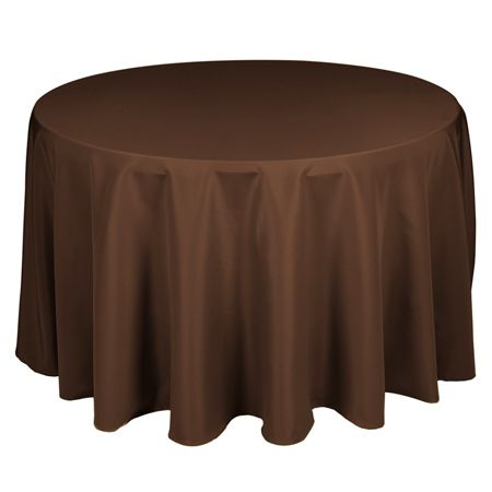 "90"" Round Polyester Chocolate Brown Tablecloth 