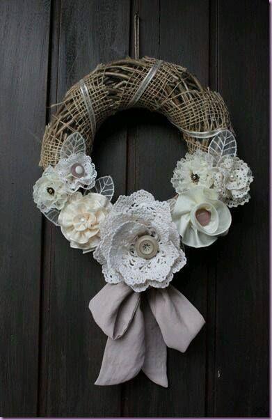 brocante bloemen krans